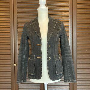 フランドル ブラックデニム ジャケット サイズ2 デニムジャケット テーラードジャケット 7~細身の9号相当 used