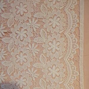 花柄 綿系ケミカル刺繍レース生地 ホワイト 生地巾約85cm×50cm