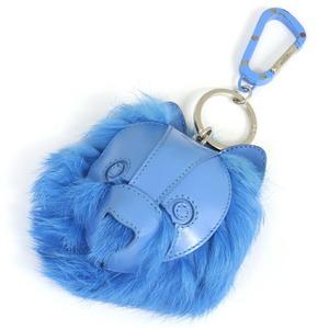 ディオール キーホルダー ブルー ラビットファー レザー 中古 キーリング バッグチャーム アニマルモチーフ レディース Dior