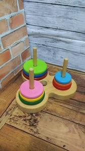 ハンドメイド 手作り ウッド 木工 知育玩具 ハノイの塔 輪っか9枚セット