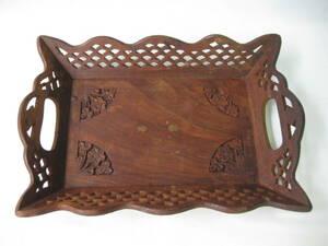 【即決あり】 昭和レトロ 木彫り 装飾 トレー お盆 木製 アジアン雑貨 当時物 / インテリア装飾 オブジェ ディスプレイにも