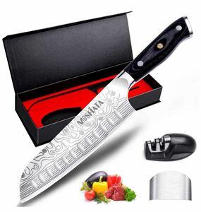 7インチ三徳包丁、フィンガーガードと鉛筆削り、ドイツ製高炭素ステンレス鋼EN.4116キッチンクッキングナイフ