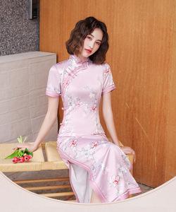 シルク チャイナドレス キャバドレス ナイトドレス ロングドレス コスチューム ハロウィン スリット チャイナ服 大きいサイズあり
