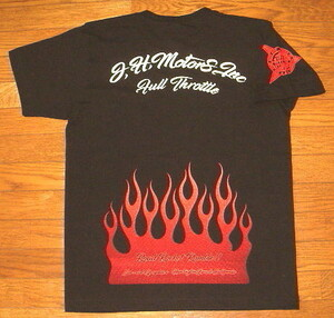 新品 フルスロットル/ コットン生地 プリント 半袖 Tシャツ (Mサイズ/黒×赤白) フレイムス ファイヤーパターン 炎 バイカー ホットロッド