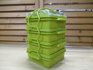 Y送料無料◎675 【Tupperware】 昭和レトロ タッパーウェア カルテット 4段 ランチボックス 未使用経年品