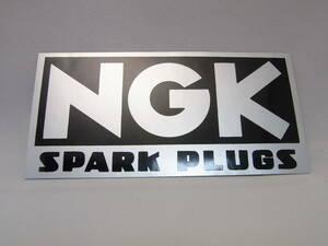 ★送料無料!★【NGK SPARK PLUGS】SILVER ステッカー 横:11cm 縦:5.5cm ★スパークプラグ ロゴ デカール シール