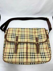 バーバリー ショルダーバッグ ブラウン×チェック PVC 未使用品 カバン BURBERRY メンズ レディース メッセンジャーバッグ