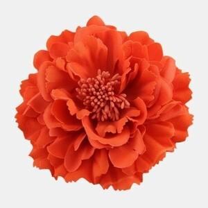 コサージュ ヘアアクセサリー 牡丹の花 大きめ (オレンジ)