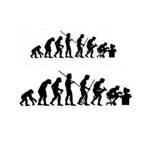 ノートパソコン用 ステッカー シール 人間の進化 2サイズセット