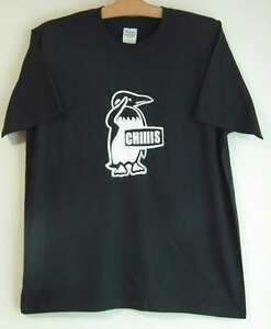 新品☆パロディーTシャツ☆黒黒M半袖☆チィーース☆ペンギン☆CHIIIS☆敬礼ロゴ