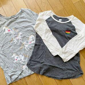 ☆美品 gap kids ガールズ 長袖 Tシャツ 2枚 刺繍 プリント ギャップ 女の子 150cm XL