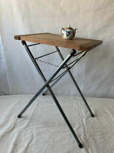 折り畳み式アイアンラック 簡易テーブルタオルハンガーインテリアディスプレイ古道具アンティークビンテージインダストリアル工業系什器