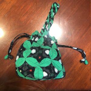 ハンドメイド 絣 パッチワーク 巾着 手提 紺×緑