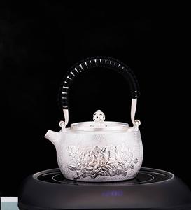 YH011【煎茶道具】純銀 銀瓶 急須 職人手作り シルバー 銀製 伝統茶道 金属工芸品 証明書付き 底の直径8.8cm 重さ443g
