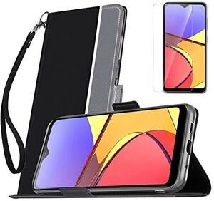 【液晶ガラスフィルムとストラップ付き】Mutucu 2020年発売 docomo Galaxy A21 SC-42A手帳型 ケース