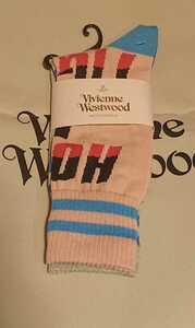 ヴィヴィアンウエストウッド/レティース クルーソックス 綿 靴下/23㎝から24㎝/新品未使用/ソックス vivienne westwood 5 ピンク