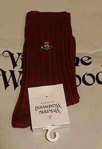 ヴィヴィアンウエストウッド/レディース クルーソックス 綿 靴下/23㎝から24㎝/新品未使用/ソックス vivienne westwood 9 エンジ