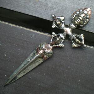 真鍮・銅・白銅製 プルパ ヴァジュラ・キーラ 15.2センチ 密教法具 仏具