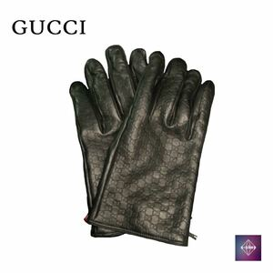 GUCCI グッチ レザー グローブ GGモノグラム 手袋 ブラック 黒 メンズ 中古