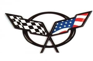 シボレー コルベット C5 エンブレム アメリカ国旗 星条旗 ステッカー デカール 97年98年99年00年01年02年03年04年
