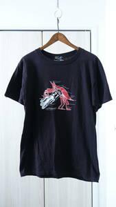 ★USA製CUTRATEカットレイト プリント半袖Tシャツ  メンズ古着ユーズド男性メンズ黒ブラックナンバー蟹バイカートップスインナー