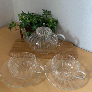 昭和レトロ アンティーク ティーカップ セット ティーポット ティーセットガラス 茶こしガラス付き 新品未使用品