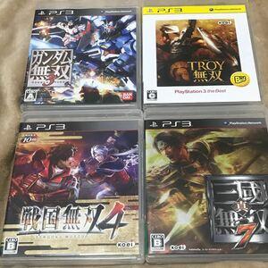 PS3 無双シリーズ4本セット 戦国無双4        真・三國無双7   ガンダム無双3   トロイ無双  コーエーテクモ