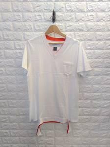 FACETASM ファセッタズム BQ-TEE-U03 無地 Vネック 半袖 Tシャツ ポケット付き メンズ 白 ホワイト white L
