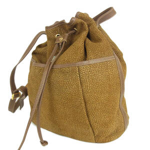 ボルボネーゼ Borbonese レッドウォール レザー 巾着式 斜め掛け ショルダー バッグ イタリア製 ブラウン 18780bkac