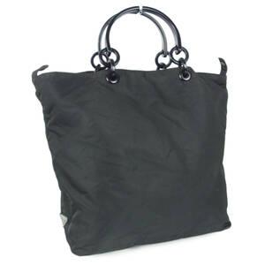 プラダ PRADA ロゴ テスート ナイロン プラスチック チェーン ハンドル トート ハンドバッグ イタリア製 ネロ(ブラック) 17902bkac