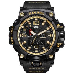 最新 スポーツ ウォッチ 50m防水 アウトドア ミリタリー 登山 海 デジタル 腕時計 ギフト アナログ 衝撃 ゴールド s0047