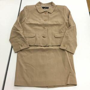 [送料無料] ロザース AUCH セットアップ ウール スーツ 上下セット ジャケット スカート ベージュ系 11号 古着 レトロ