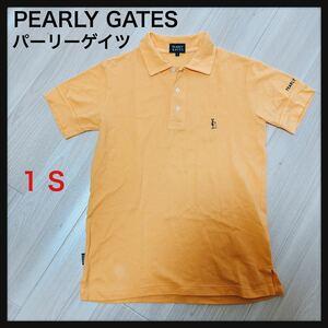 【大人気】PEARLY GATES パーリーゲイツ★ポロシャツサイズ1 S ロゴマーク GOLF ゴルフ オレンジ 半袖シャツ 送料無料★良品