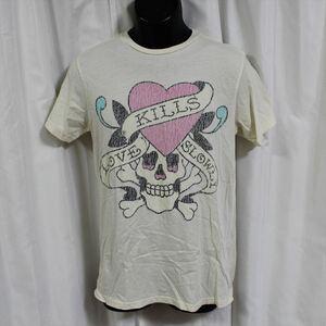 エドハーディー ED HARDY メンズ半袖Tシャツ Sサイズ SP052 オフホワイト 新品 LOVE KILLS SLOWLY
