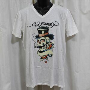 エドハーディー ED HARDY メンズ半袖Tシャツ ホワイト Lサイズ HB128 新品 スカル ドン・エド・ハーディー