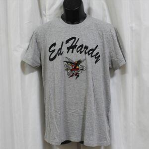 エドハーディー ED HARDY メンズ半袖Tシャツ グレー Mサイズ FG276 新品