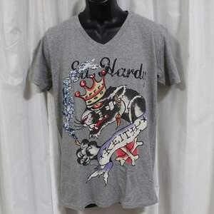 Ed Hardy(エドハーディー) メンズ半袖Tシャツ PA044 スパンコール グレー Vネック