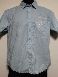 エドハーディー ED HARDY メンズ半袖シャツ ブルー Sサイズ 新品 EMB10094SP