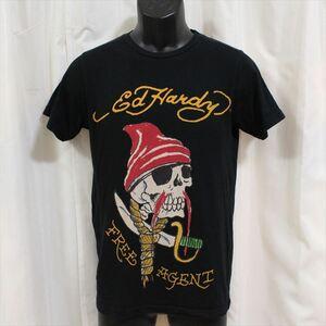 エドハーディー ED HARDY メンズ半袖Tシャツ ブラック Sサイズ FREE AGENT 新品