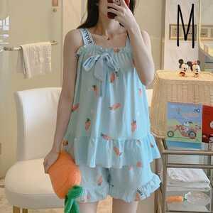 レディース キャミソールルームウェア にんじん柄 青 Mサイズ パジャマ 部屋着 短パン 袖なし 夏 新品 未使用品