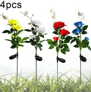 Mp4524:4PCS LEDソーラーローズガーデンランプ 屋外 LEDソーラーライト RGBカラーリリーガーデンフラワーランプ ソーラーパワー 芝生
