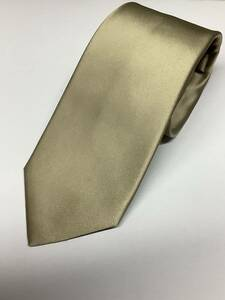 新品 ベージュ系ゴールド系の無地ソリッド風織柄 日本製ネクタイ シルク100%お買い得サービス