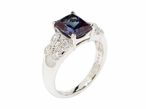2.31ct Synthesis Alexand Lighting No. 14 PT950 New Finished Total 0.2ct Natural Diamond Square Quarter Platinum Used Free Shipping