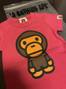 【新品・送料無料】A BATHING APE Tシャツ APE エイプ ピンク マイロ 猿 70 KIDS キッズ 袋付 BAPE KIDS MILO BABY