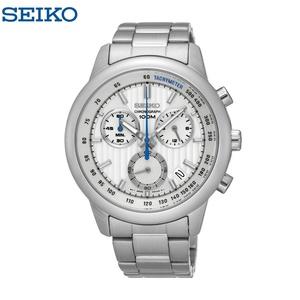 SEIKO セイコー メンズ クロノグラフ カレンダー 日本製ムーブ 100M防水 SSB203P ホワイト ブルー 白 ビジネスウォッチ 仕事用腕時計