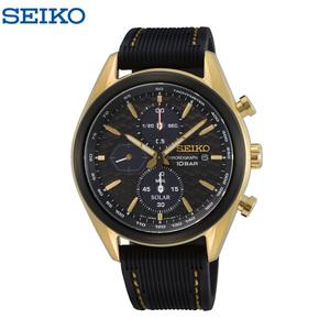 SEIKO セイコー メンズ 腕時計 ソーラー クロノグラフ ストップウォッチ カレンダー 防水 SSC804P ブラック ゴールド ラバーベルト 限定品