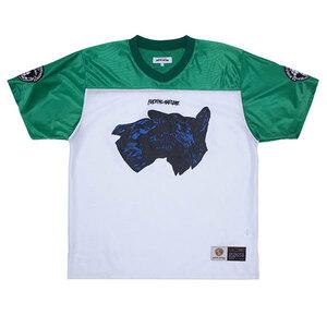 Fucking Awesome (ファッキンオーサム) フットボールシャツ メッシュ Tシャツ Dogs Football Jersey Green/White グリーン×ホワイト (L)