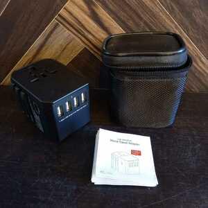 N1385 ワールドトラベルアダプター変換器 変換 海外 4USB+TYPEC EU UK USA AUS 全国送料一律350円