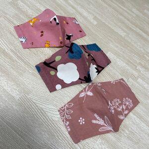 ハンドメイド インナーカバー インナーシート 花柄 猫柄 cat かわいい 春 収納ポケット付きデザイン 3枚セット 立体NO12