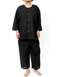 【新品】 4L ブラック 甚平 メンズ 大きいサイズ 和柄 パジャマ 上下 しじら織り 無地 ストライプ 涼しい セットアップ